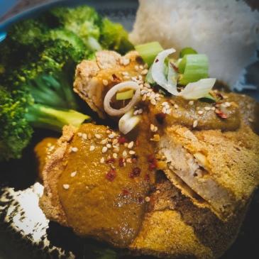 vegan tofu katsu curry with a pinch of kindness