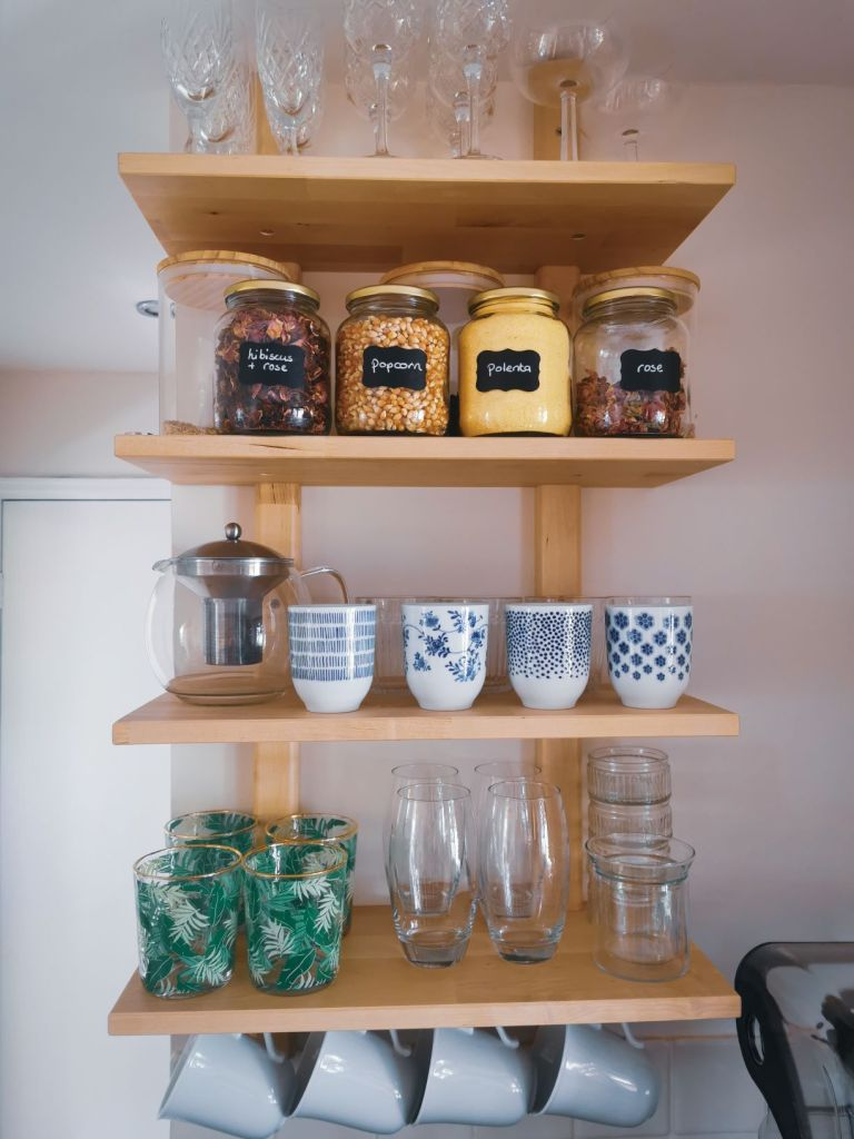 Ikea kitchen varde shelves by pinch of kindness